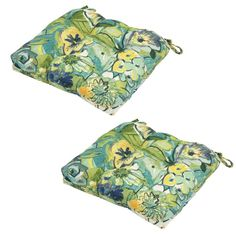Hampton Bay Rainforest Floral Tufted Outdoor Seat Cushion (2-Pack)