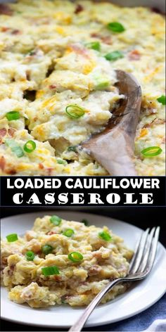 Loaded Cauliflower Casserole, Veggie Casserole, Cauliflower Recipes, Casserole Dishes, Casserole Recipes, Diabetic Recipes, Low Carb Recipes, Cooking Recipes, Sesame Chicken