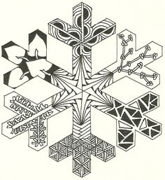 Snowflake Outline #1 that I Zentangled.