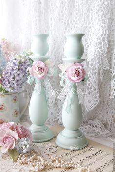 """Купить Подсвечники деревянные """"Мятные розы"""". - мятный, подсвечник, дерево, шебби, романтика, романтичный подарок"""