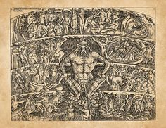 Hell Satan Lucifer Sinners Tortured Demons Dante's Inferno Damned Souls Leviathan Monsters Antique Book Illustration Engraving Art Print