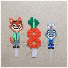 Zootopia cake toppers perler beads by ikasuyanto