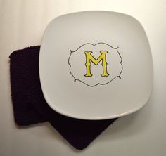 Custom Hand Painted Monogrammed Plate. $18.00, via Etsy.