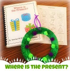 "Holiday vocab & preposition work with ""Where is the Present?"" Adapted book by theautismhelper.com"