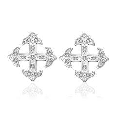 JEWELS Luxury sliver Small Austrian Elegant cross CZ Earring for Women Fashion Popular global simplicity Earrings Jewelry #Affiliate