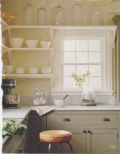 Farmhouse kitchens - I think I've found my happy place.  I love the idea of just shelving and no cabinets up top.
