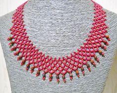 Rode netting ketting met rode papaver jasper kralen door Seadbeady