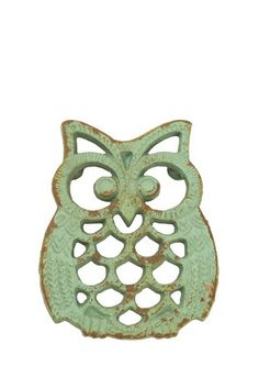 Cast Iron Owl Trivet in Mint.