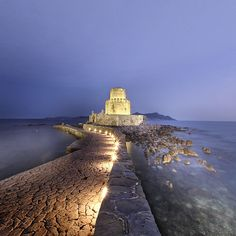 part of the castle of Methoni by night, Peloponnese, Greece