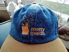 MERRY MAIDS Denim Trucker Blue Jean Cotton Cap Hat Embroidered with Beige Brim #Dunbrooke #Trucker