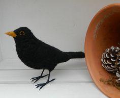 Needle Felted Blackbird Bird Sculpture by MadeByAimeeUK on Etsy