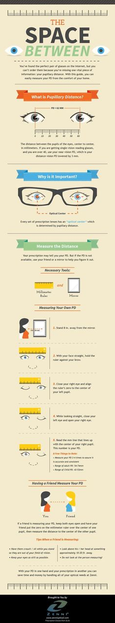 How to Measure Your Pupillary Distance (PD)  [by Zenni Optical® -- via #tipsographic]. More at tipsographic.com