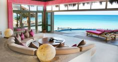 Baja, Mexico beach house with open-air indoor/outdoor living area, semi-circle built-in seating