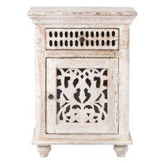 Home Decorators Collection Maharaja Nightstand  | Playing a crucial supporting role next to your bed, the nightstand is an opportunity to elevate the entire room's aesthetic | http://www.apartmenttherapy.com #interiordesign #nightstandsideas #nightstand #masterbedroom #bedroom #homedecor