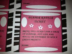 Diaper raffle tickets-pink and zebra