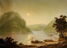 Goarshausen am Rhein of artist Johann Ludwig Bleuler, Moonlight Painting, Ludwig, Romanticism, Sunrise, Landscape, Portrait, Paintings, Dreams, Artist