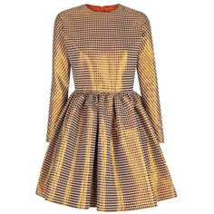 The 2nd Skin Co Metallic Gold Jacquard Dress ($526) ❤ liked on Polyvore featuring dresses, metallic dress, crew neck dress, pleated dress, brown pleated dress and jacquard dress