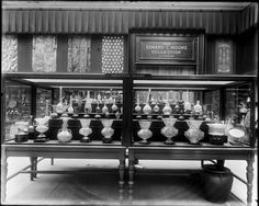 The Metropolitan Museum of Art (Floor 2, Room 26): The Edward C. Moore Collection of Oriental Glass; View including mosque lamps and other Islamic glassware. Photographed before 1907.