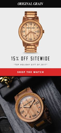 Shop our Pre-Black Friday sale for 15% off sitewide. Original Grain handcrafted wood & steel watches make the perfect holiday gift. Ends November 22.