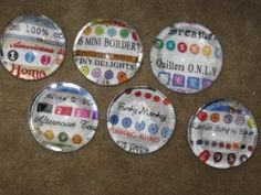 Selvege paperweights. Would make great quilting retreat favors!
