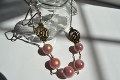 Glowing Pink Bead and Bird Necklace-very sweet and perfect for spring.