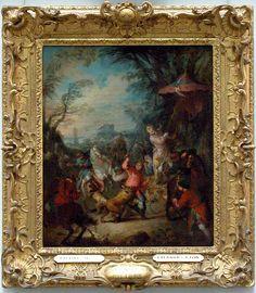 Jean-Baptiste PATER Valenciennes, 1695 - Paris, 1736  Chasse chinoise  1736  H. : 0,55 m. ; L. : 0,46 m.  Cette scène participant du goût de l'époque pour l'Orient est l'esquisse d'un tableau commandé en 1736 (musée d'Amiens) pour la Petite Galerie de Louis XV à Versailles, ornée de chasses exotiques par Boucher, Lancret, Charles Parrocel, Jean-François de Troy, Carle Vanloo.