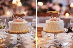cute idea: a small cake served as the centerpiece for each table