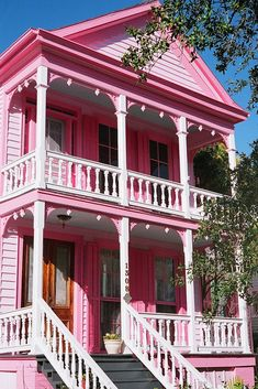 Galveston pink house  I think they hate their neighbors Yashica GSN