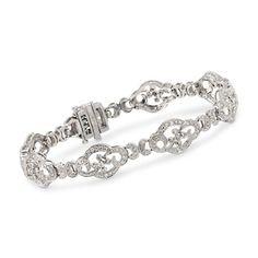 1.15 ct. t.w. Diamond Swirl-Link Bracelet in Sterling Silver. 8