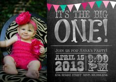 Pennant Chalkboard Girl's 1st Birthday 7x5 One-Sided on Etsy, $15.00