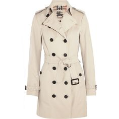 Burberry London The Sandringham Mid cotton-gabardine trench coat (12.085 HRK) via Polyvore featuring outerwear, coats, jackets, beige, beige trench coat, burberry coat, slim trench coat, pink trench coat and burberry