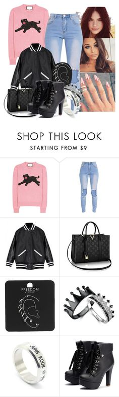 """""""Untitled #860"""" by elliepetkova ❤ liked on Polyvore featuring Gucci, Zoe Karssen, Topshop and LØMO"""