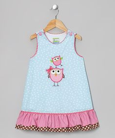 Take a look at this Light Blue Owl Swing Jumper - Toddler & Girls on zulily today!