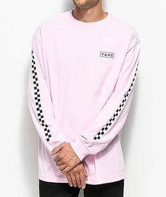 f2c7e33481 Vans Checkmate Pink   White Long Sleeve T-Shirt