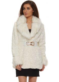 aa0788a1 Urban Mist Winter White Rose Textured Faux Fur Belted Coat Designer  Jackets, Belted Coat,