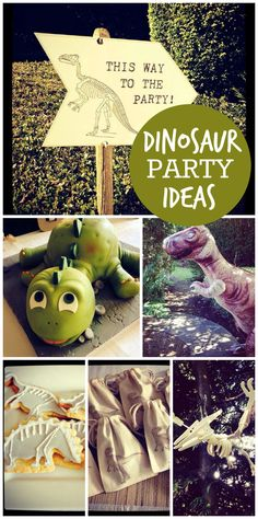A dinosaur themed boy birthday party with a fun cake, cookies and activities!  See more party planning ideas at CatchMyParty.com!