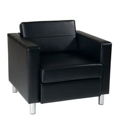 Office Star PAC51-V18 Pacific Easy-Care Black Faux Leather Armchair with Box Spring Seat & Silver Color Legs by Ave Six