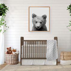 Baby Bear Print, Digital Download, Baby Bear Nursery, Woodland Nursery, Nursery Decor, Bear Print, Bear Wall Art, Printable Wall Art by DwellaMahoneyArt on Etsy