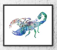 Blue Scorpion Watercolor Painting - Animal Wall Decor on Etsy, $17.07 CAD
