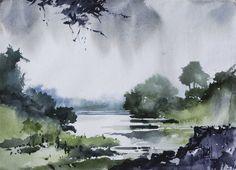 "Saatchi Online Artist: Sharad Tawade; Watercolor, 2010, Painting ""River"""