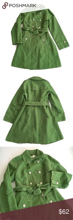 """NWOT LOFT Green Trench/Raincoat G1 New without tags // Ann Taylor LOFT brand // Sz 6 // double breasted trench/raincoat/Peacoat with waist tie, silver buttons // 20"""" across armpits // 28.5"""" sleeves // 37"""" length // the material feels amazing and high quality; slightly soft and slick // Shell: 71% cotton, 29% nylon. Lining: 100% acetate // the """"remove before washing or wearing"""" tag is still attached // 1p14.2o 2.14.62.945 // Bundle Discounts LOFT Jackets & Coats"""