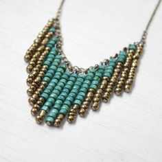 Chevron beaded necklace with turquoise and bronze by iuliachifelea, $26.00