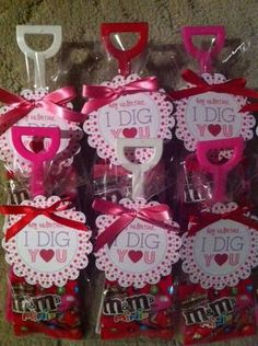 Valentine Favors - saw the idea on Pinterest.  Shovels were ordered from Ebay, printable tag purchased on Etsy, and I used the small packages of M&M's.
