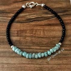 Beaded Bracelet for Women, Gemstone Bracelet, Boho Bracelet, Larimar Bracelet, Womens Bracelet, Jewe