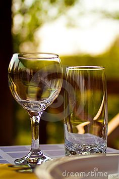 Glasses On Table In Cafe