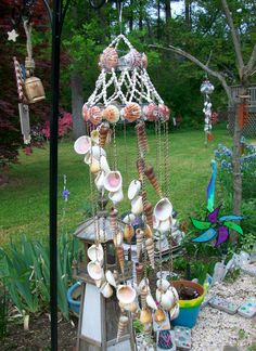shell wind chime, made from shells and wire