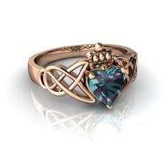 Amazon.com: 14k Rose Gold Heart Created Alexandrite Celtic Claddagh Knot Ring: Jewelry