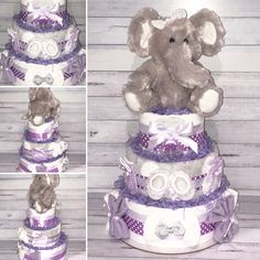 Purple and Precious! This adorable Nappy Cake centrepiece gift includes: Huggies Newborn Nappies Flannelette Wraps Gentle Face Washers Baby Headbands Baby Blanket Newborn Socks Newborn Beanie Avent Soother Plush Elephant Toy