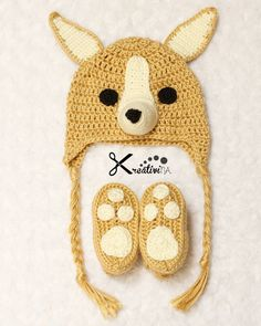 Corgi baby hat and matching shoes. Especially made for baby Cedric @celsie_lover…