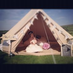 Wedding tent glamping. ( this would be such a romantic first night tent!)